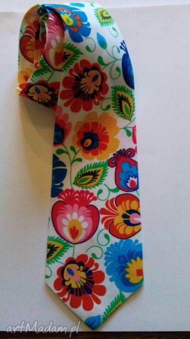 Krawat folk łowickie wzory krawaty folkdesign