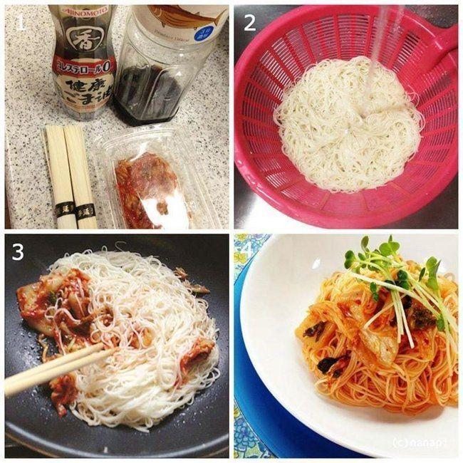 そうめんを30秒くらい茹でて、ごま油でキムチと一緒に炒め、めんつゆをまわしかけたらお好みで マヨネーズを…。早い安いウマイ!!「キムチ素麺チャンプルーの作り方」