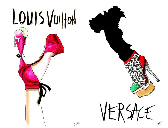 Louis Vuitton and Versace
