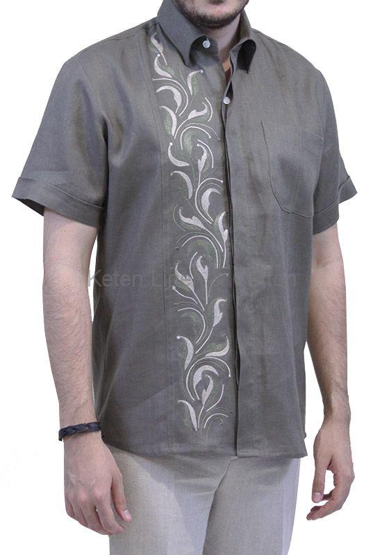 Camisa de Lino Con Bordado Artesanal Color Pardo Verde