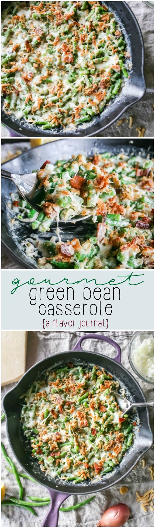 creamy, decadent green bean casserole gives a gourmet twist to the classic favorite.  with bacon, shallots, and cream sauce - it's a new holiday favorite for us!  gourmet green bean casserole. http://aflavorjournal.com/gourmet-green-bean-casserole/