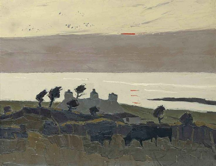 """Kyffin Williams (UK, Wales 1918-2006) Cottages at Sunset oil on canvas 71.3 x 91.5 cm """