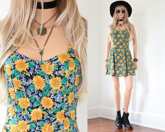 90s Floral Dress 90s Grunge Sunflower Dress Floral Mini Dress