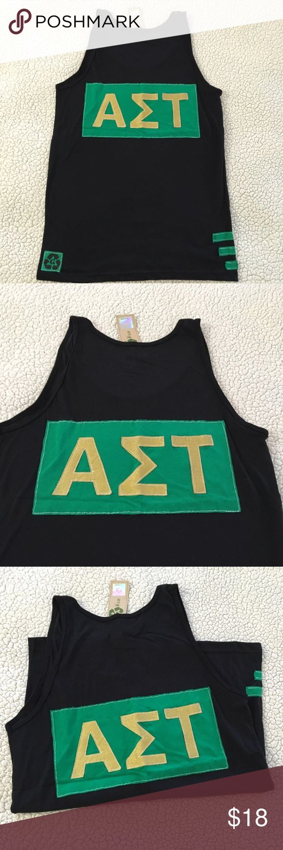 NWT Alpha Sigma Tau black & green boyfriend tank NWT Alpha Sigma Tau black & green scoop neck boyfriend tank top. Size AM. 50% polyester 25% cotton 25% rayon. Green & yellow sorority lettering symbol on back. Solid front. Made in USA. $36 retail. Rare and one of a kind. #greek #life #college #university #alpha #sigma #tau #sorority #pledge #black #green #yellow #big #little #sister #nwt #tank #new #scoop Never used. Smoke free home. Check closet for similar items & additional sororities. ❌no…