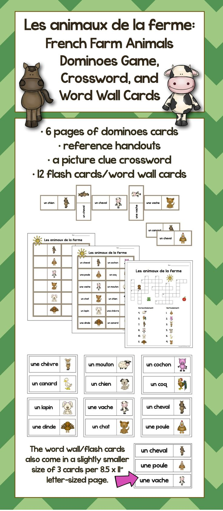 """Les animaux de la ferme: French farm animals dominoes game, crossword, and word wall cards (The words wall cards come it 2 sizes: 2 per 8.5x11"""" page or 3 per page.)"""
