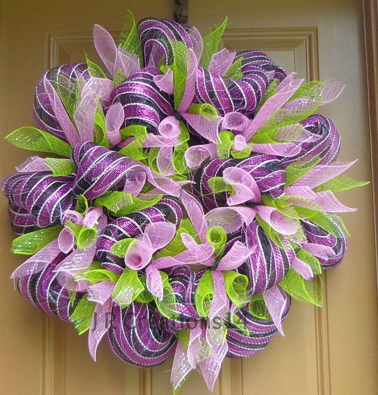 """Striped Mesh Wreath, Magenta, Black, White, Mesh Pink Flowers and Green Leaves, Mesh Door Wreath, Home Decor, Deco Mesh Wreath, 27"""" Wx8.5"""" D by JRCreations14 on Etsy"""