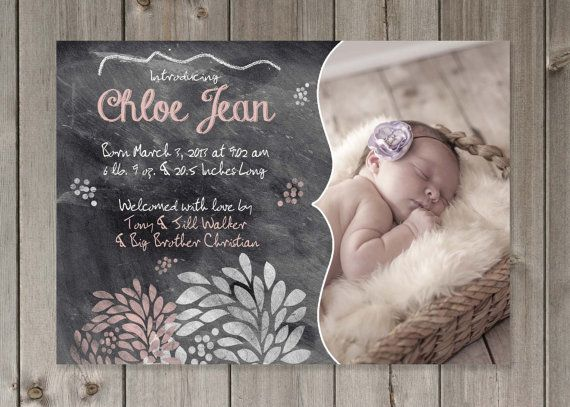 Baby Girl Photo Birth Announcement Pink Floral Chalkboard DIY PRINTABLE 5x7  Digital File on Etsy, $14.00