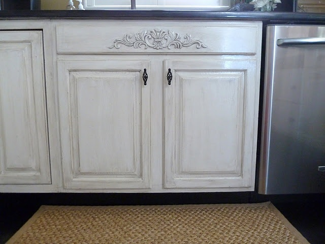 DIY Distressed Kitchen Cabinets: How To Distress Your Kitchen Cabinets U0026  Add Decorative Moulding From Loweu0027s. Love The Decorative Molding Under Sink!