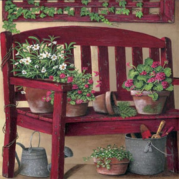 Flowers on a garden bench.  Cross stitch pattern.