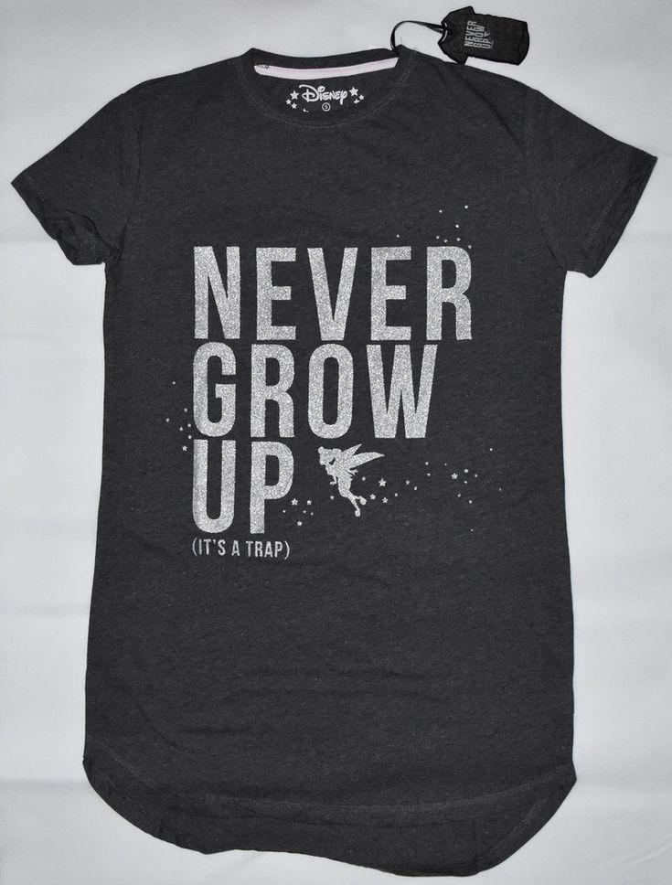 PRIMARK Tinkerbell Disney PJ NIGHTIE 'Never Grow Up' Sleepshirt Sizes 4 - 20 NEW