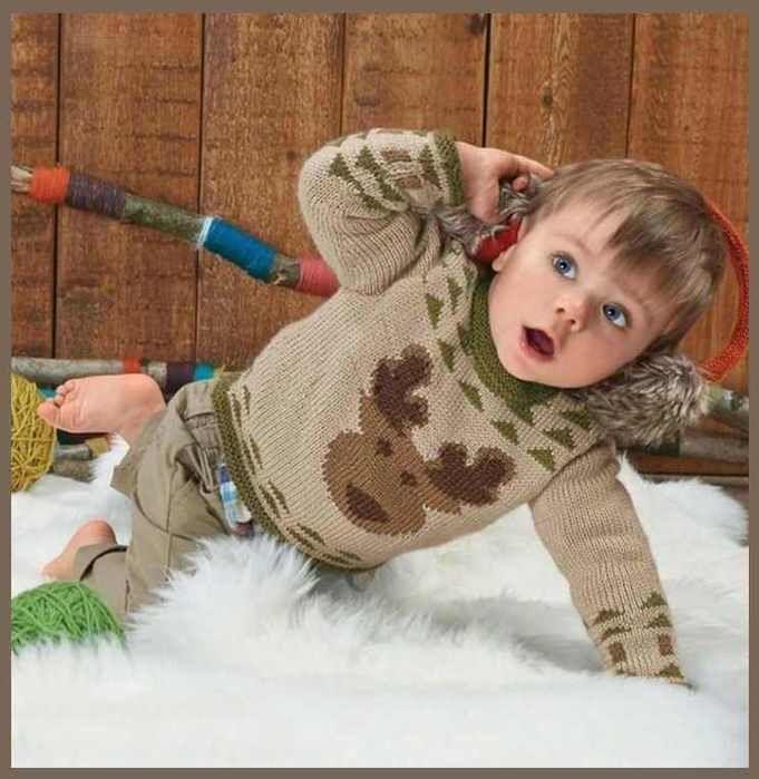 Озорные петельки: Детский пуловер с оленем