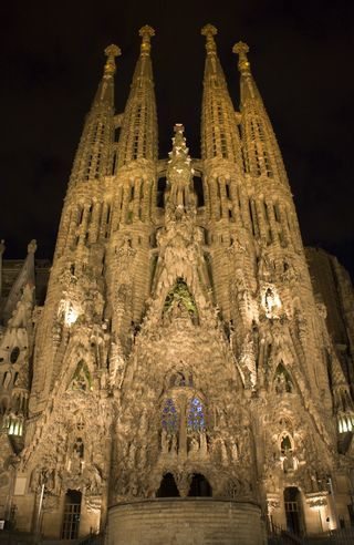 The Sagrada Familia designed by Antonio Gaudi, Barcelona, Spain. The detail is