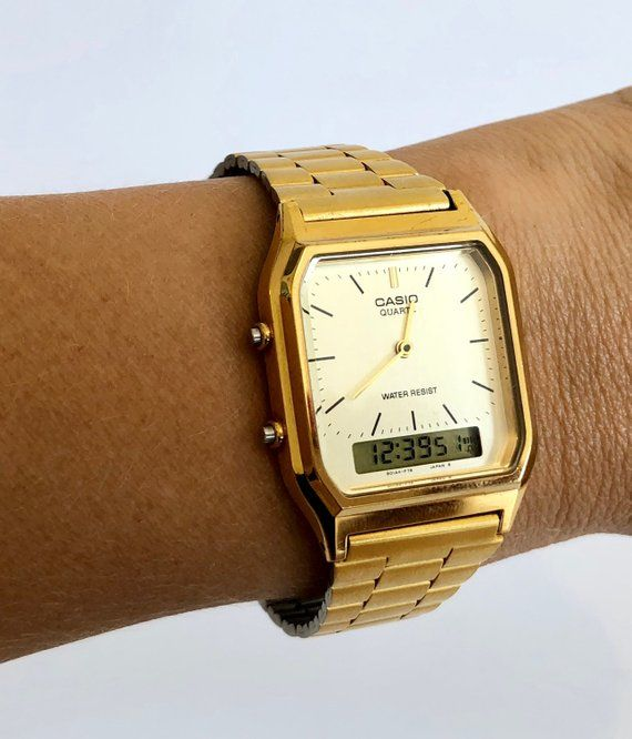 7a5dec571804 CASIO Vintage AQ-230 Gold Wrist Watch