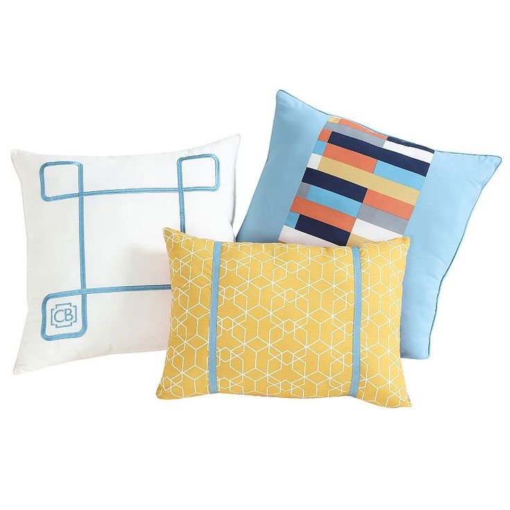Vcny 3-piece Geometric Clairebella Throw Pillow Set, Multicolor