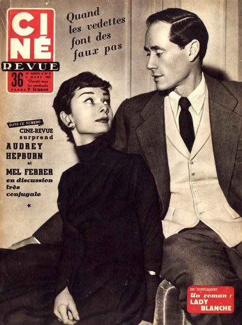 Audrey Hepburn and Mel Ferrer - Cine Revue Magazine - 1955