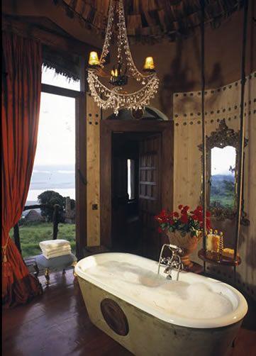 Over-the-top luxury safari, anyone?! Ngorongoro Crater Lodge, bathroom