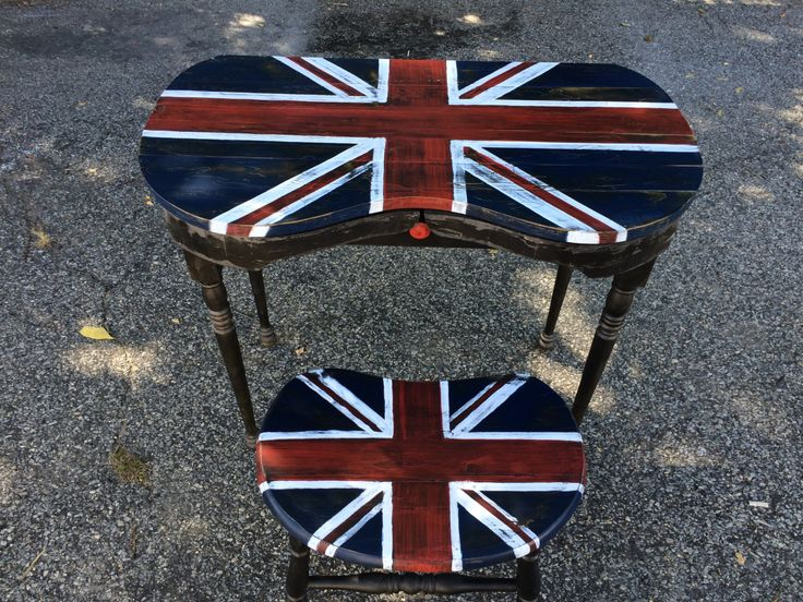 Vintage dressing table and stool painted with Union Jack and distressed by TSVintageandAntiques on Etsy