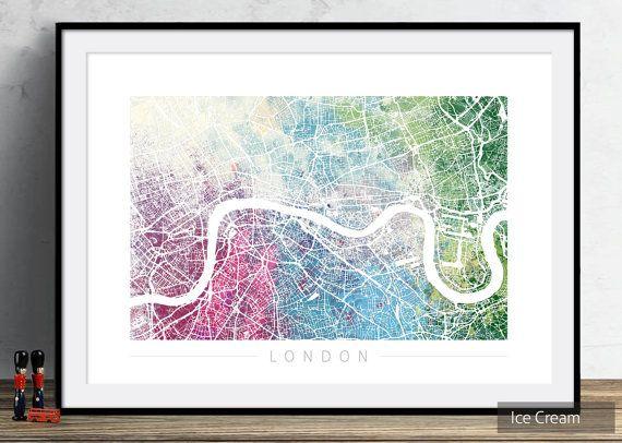 Londen kaart  kaart met City Street Londen  Art door VelvetPrint