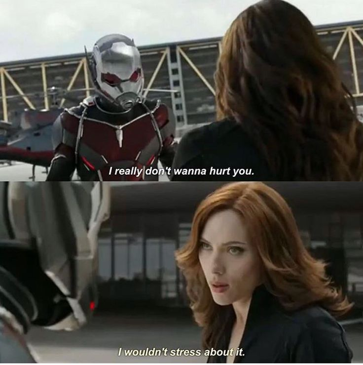 """I really don't wanna hurt you."" ""I wouldn't stress about it."" Ant Man and Black Widow"