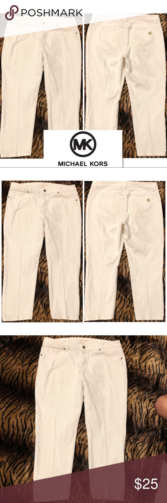 Michael Kors Cropped Cream Jeans size 12 No stain  Made in Colombia  Size: 12 Michael Kors Jeans Ankle & Cropped