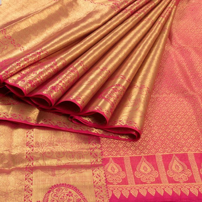 Ghanshyam Sarode Handwoven Kanchipuram Silk Saree with Big Zari Border 10003483 - profile - AVISHYA.COM