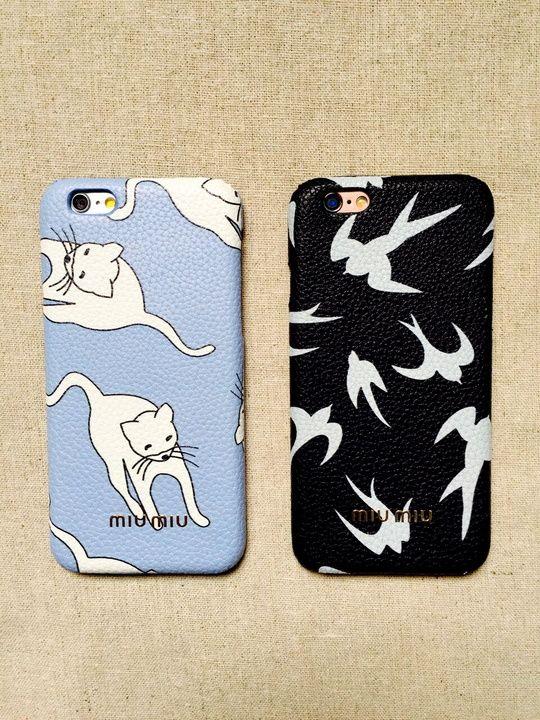 ミュウミュウスマホカバーお揃いイタリアファッションブランドmiumiu猫ネコブルー可愛いiphone6S plusケースカップル向け男女ペアiPhone7/6s/6革貼り薄いハードケース