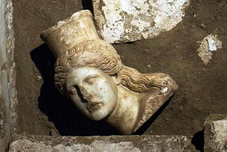 Head of near-intact marble sphinx discovered at mysterious fourth century BC Greek tomb