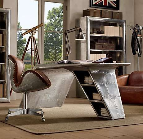 Upcycled Aviation FurnitureOffices Desks, Office Desks, Restoration Hardware, Aviators, Chairs, Wings, Interiors Design, Home Offices Design, Furniture