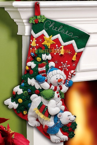"Bucilla Snowman Polar Bear 18"" Felt Christmas Stocking Kit 86358 New 2012 | eBay"