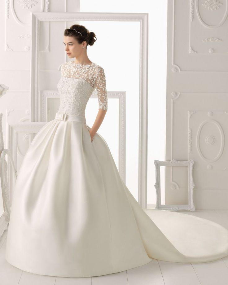 750,00€ · vestido AIRE BARCELONA, encaje y perlitas · es un precioso vestido de encaje, manga francesa, con encaje, y en el encaje tiene como perlitas incrustadas, en el dibujo de las hojas, es de corte de princesa con un lazo delante,  es de seda, suave al tacto, es la foto de portada del catalogo 2015-2016  talla 36-38 incluye el velo y el can-can que le da el aumento · Moda y complementos > Ropa de mujer > Vestidos de mujer > Vestidos de novia