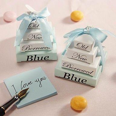 """""""Iets oude, nieuwe, geleend en blauw"""" notitieblok bruiloft gunst (set van 10) – EUR € 8.24"""