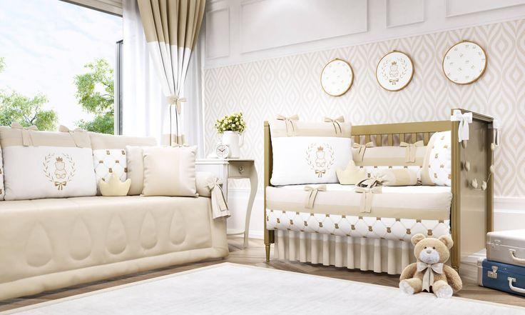 O Quarto de Bebê Ursinho Clássico Palha é uma decoração de quarto de bebê bege no estilo clássico! Você vai se apaixonar pelos detalhes exclusivos dessa coleção!