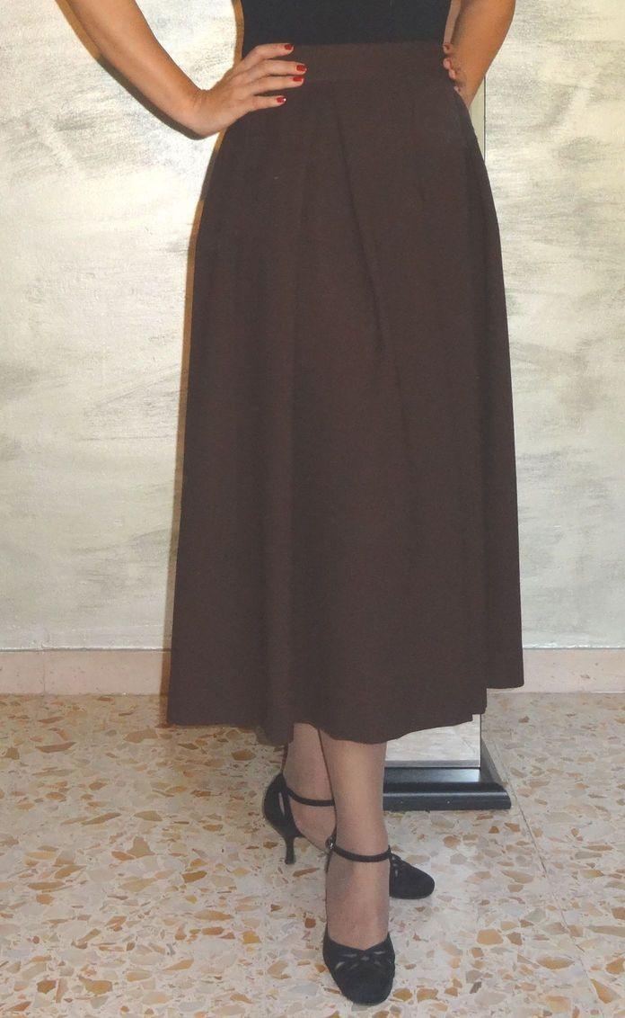 Gonne : Gonna di lana marrone con tasche