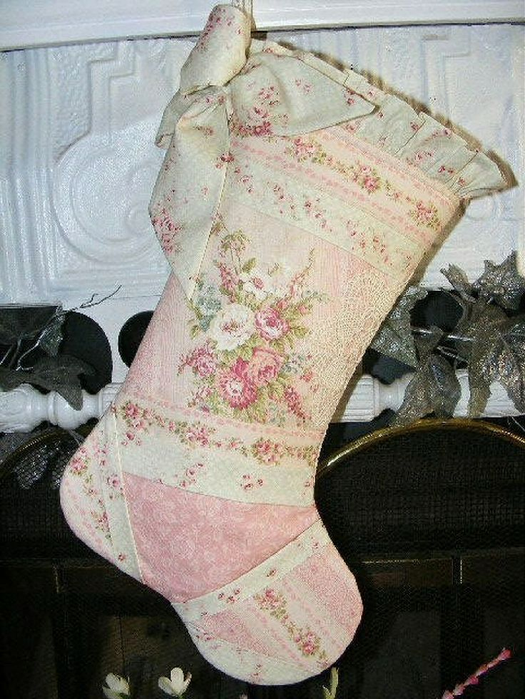 ❤ crazy quilting. . .  OOAK Gorgeous French Pink Shabby Chic Rose Christmas Stocking