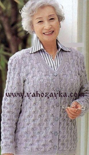 Серый женский жакет спицами. Схема вязания жакета спицами