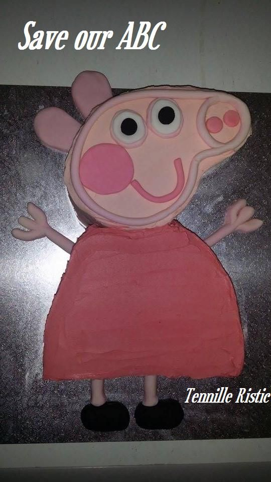 """Peppa Pig Cake by Tennille In Australia we are losing funding to our independent television channel The ABC. I am starting a collection of photos from our local  Cake Decor in Cairns home baking mums and dads to support the facebook page (not run by me) """"Australians Baking Cakes for the ABC.  http://www.cakedecorcairns.com/2014/06/australians-baking-cakes-for-abc.html"""