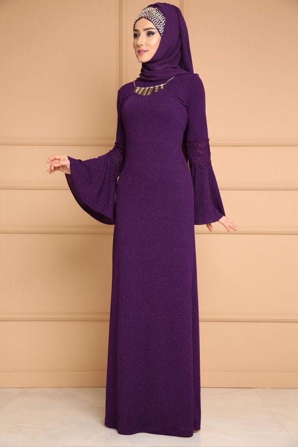 Kolyeli Simli Elbise Arn38210 Mor Elbise Elbise Modelleri The Dress