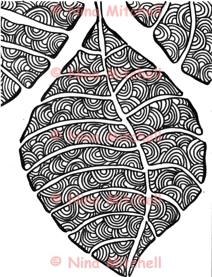 NM - bw leaf with arches zentangle