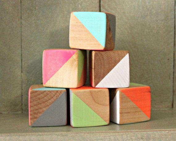 Wood Blocks Handpainted Bright Neon Geometric Triangles, Nursery Decor, Baby Shower Decoration on Etsy, $18.00
