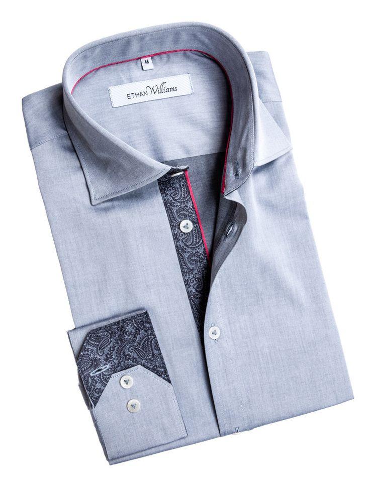 Ethan Williams Grey Chambray fabric shirt with Cut Away collar - Melanie
