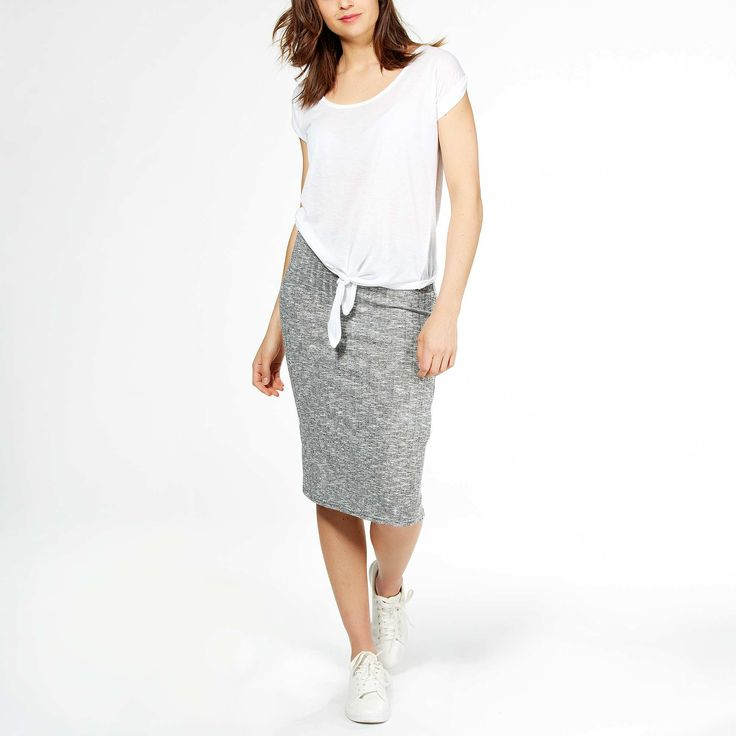 Falda de tubo de punto de canalé                                                                                         gris claro Mujer
