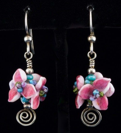 Wedding Braidsmaid gift:Pink Glass Hydrangea Flower earrings with sterling silver/  PatsyEvinsStudio.com/shop