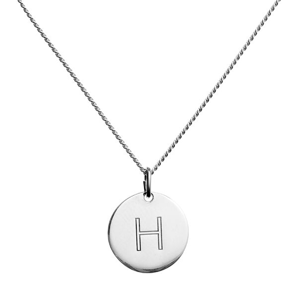 blue billie H pendant letter necklace jewelry in gold and silver. Mix and match letter pendants and gold and silver symbol jewelry.