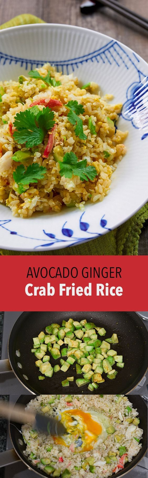 Creamy avocado and briny crab make this easy fried rice delicious and colorful!
