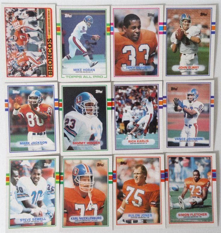 1989 Topps Denver Broncos Team Set of 12 Football Cards #DenverBroncos