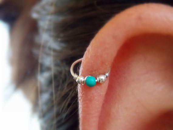 cartilage piercing hoop turquoise helix by sofisjewelryshop