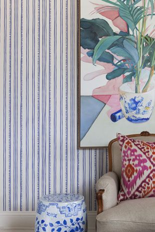 Higgledy Piggledy Stripe at Porters Paints replace wall paper at entrance?