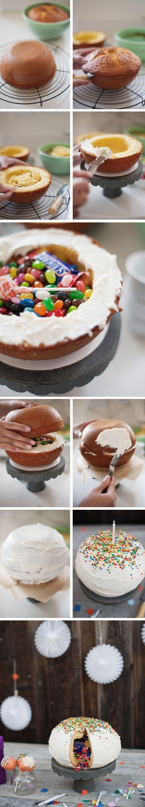 Piñata Cake! Fait pour les 5 ans de Lliam avec glaçage au Nutelle et déco mini fingers & smarties ^_^