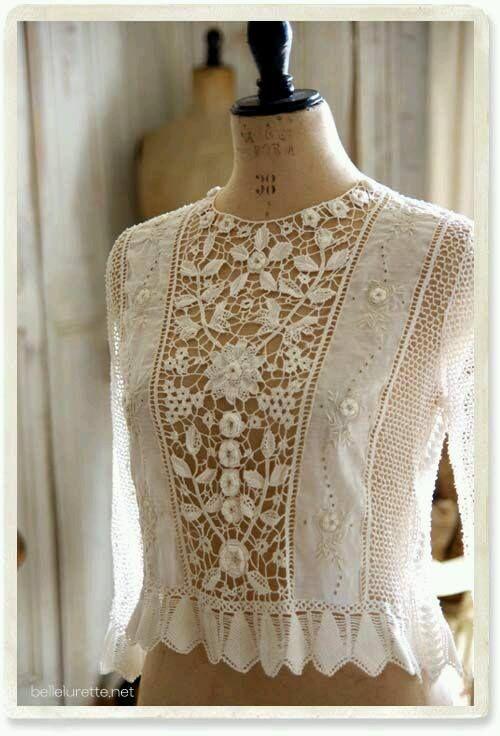 Irish crochet lace panel. Beautiful top.