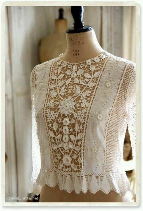 Irish crochet lace panel. Beautiful top.